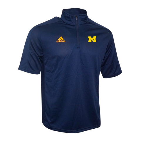 Michigan Wolverines NCAA Adidas Men's Game Built Navy Blue 1/4 Zip Coaches Knit