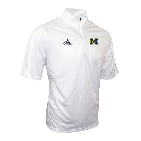Michigan Wolverines NCAA Adidas Men's Game Built White 1/4 Zip Coaches Knit