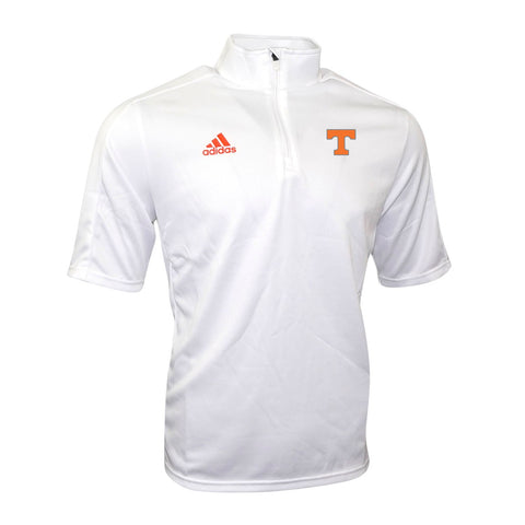 Tennessee Volunteers NCAA Adidas Men's Game Built White 1/4 Zip Coaches Knit