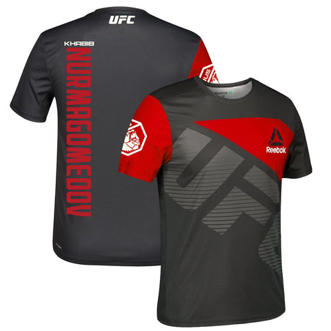 Khabib Nurmagomedov UFC Reebok Black/Red Official Fight Kit Walkout Jersey Men's