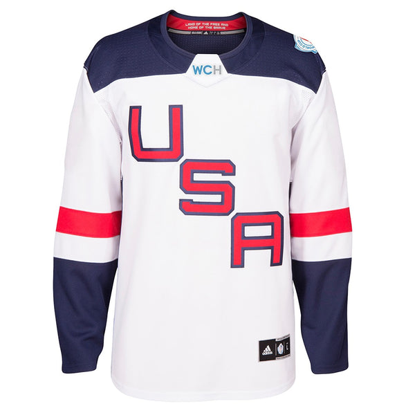 USA NHL Men's Adidas White 2016 World Cup of Hockey Premier Away Jersey