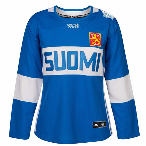 2016 Finland World Cup of Hockey Adidas NHL Women's Blue Premier Jersey