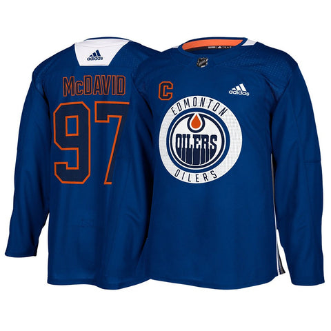 Connor McDavid Edmonton Oilers NHL Adidas Blue Authentic Practice Player Jersey
