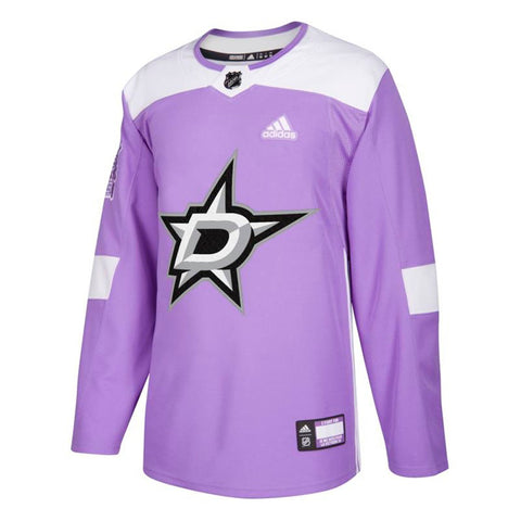 "Dallas Stars NHL Adidas Men's Purple ""Hockey Fights Cancer"" Practice Jersey"