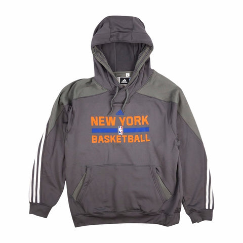 New York Knicks Adidas Official Practice On-Court Graphic Grey Hoodie Men's