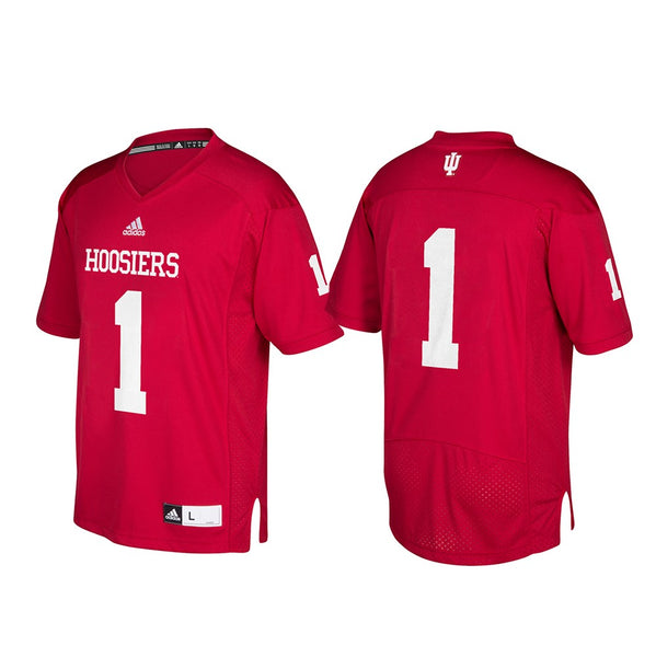 Indiana Hoosiers NCAA Adidas Men's #1 Red Premier Football Jersey