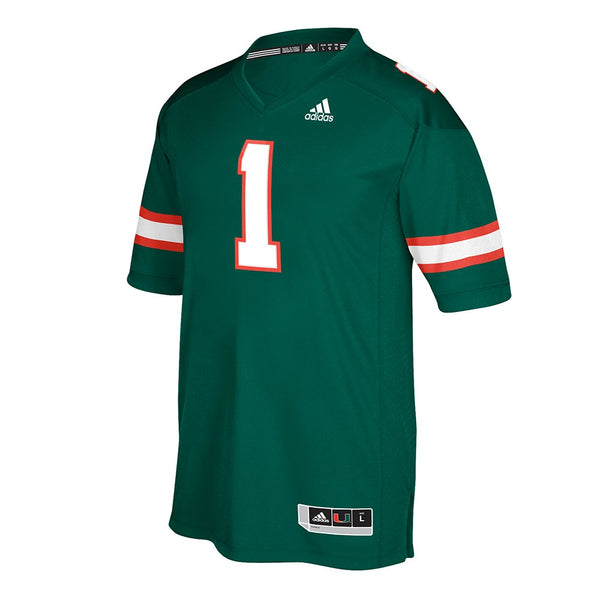 Miami Hurricanes #1 NCAA Adidas Men's Green 2017 Official Special Games Jersey