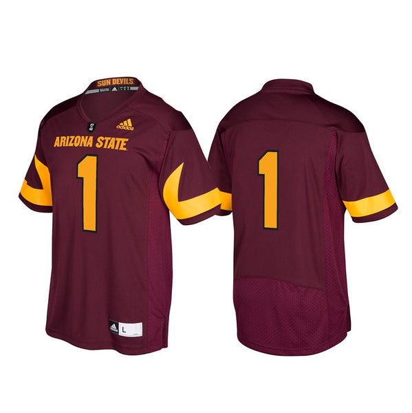 Arizona State Sun Devils NCAA Adidas Men's #1 Maroon Premier Football Jersey