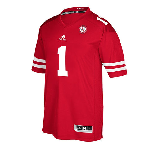 Nebraska Cornhuskers #1 NCAA Adidas Men's Red Official Home Premier Jersey