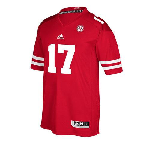 Nebraska Cornhuskers #17 NCAA Adidas Men's Red Official Home Premier Jersey