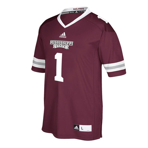 Mississippi State Bulldogs #1 NCAA Adidas Men's Maroon Home Premier Jersey