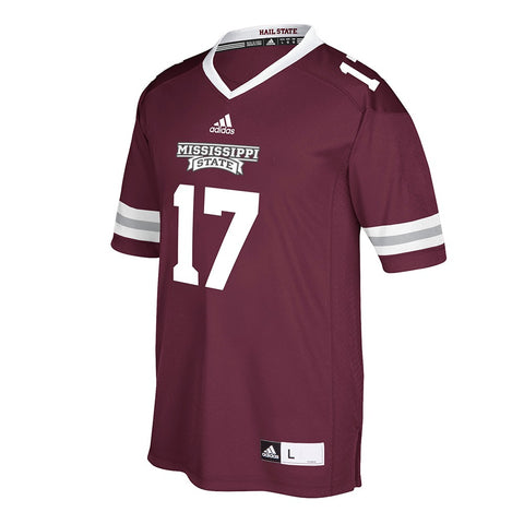 Mississippi State Bulldogs #17 NCAA Adidas Men's Maroon Home Premier Jersey