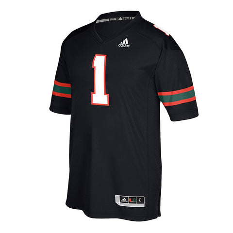 Miami Hurricanes #1 NCAA Adidas Men's Black Official Special Games Jersey