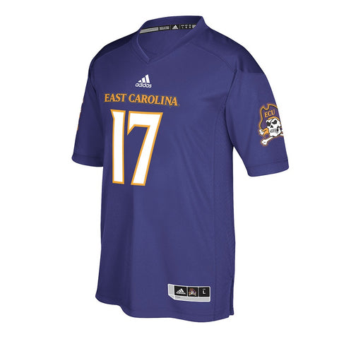 East Carolina Pirates #17 NCAA Adidas Purple Official Home Premier Jersey