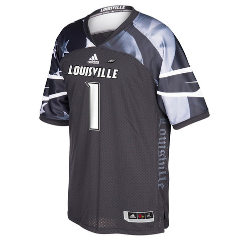 Louisville Cardinals #1 NCAA Adidas Grey Military Appreciation Premier Jersey
