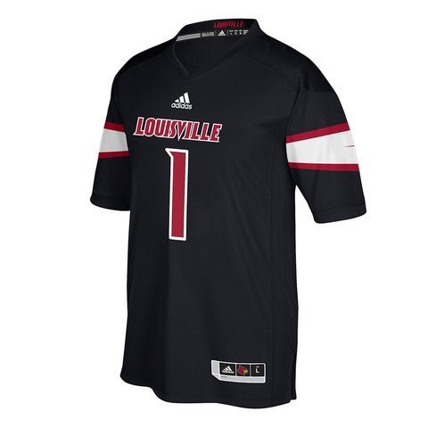 Louisville Cardinals #1 NCAA Adidas Black Official Alternate Premier Jersey