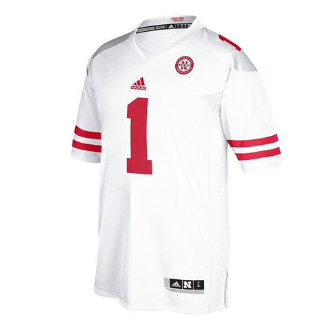 Nebraska Cornhuskers #1 NCAA Adidas White Official Away Road Premier Jersey
