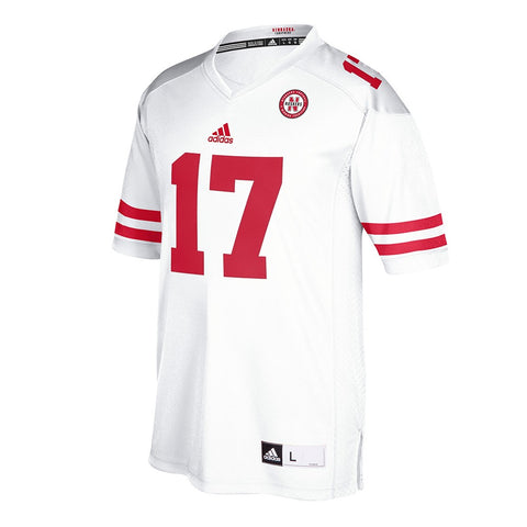 Nebraska Cornhuskers #17 NCAA Adidas White Official Away Road Premier Jersey
