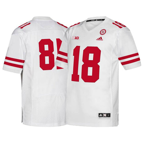 Nebraska Cornhuskers #18 NCAA Adidas Men's White Premier Football Jersey