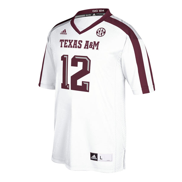 Texas A&M Aggies #12 NCAA Adidas White Official Away Premier Jersey