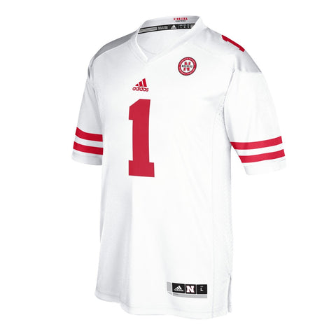 Nebraska Cornhuskers #1 NCAA Adidas Men's White Premier Football Jersey