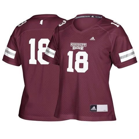 Mississippi State Bulldogs #18 NCAA Women's Maroon Football Replica Jersey