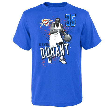 Kevin Durant NBA Oklahoma City Thunder Player Photo Blue T-Shirt Boys Youth Size