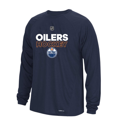 Edmonton Oilers NHL Adidas Mens Navy Climalite Long Sleeve Authentic Ice T-Shirt
