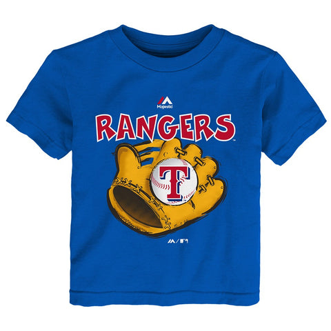 "Texas Rangers Majestic MLB Infant Blue ""Boy Baseball Mitt"" T-Shirt"