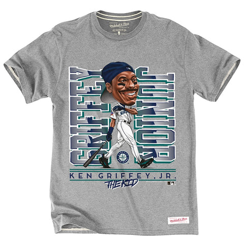Ken Griffey Jr Seattle Mariners MLB M&N Grey Caricature Tailor Fit Vintage Shirt