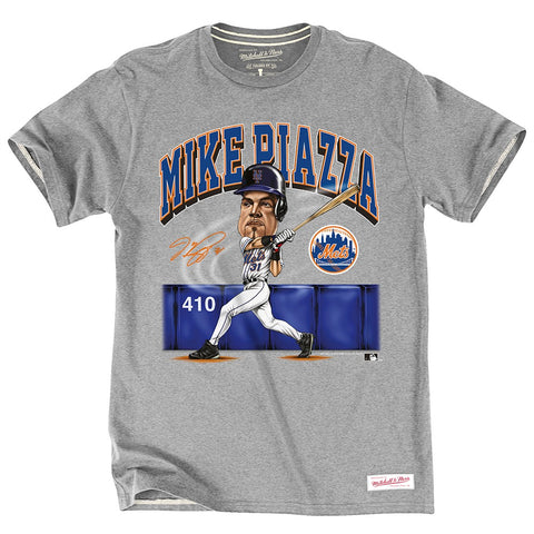 Mike Piazza New York Mets MLB M&N Grey Vintage Tailored Player Photo Shirt