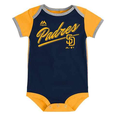"San Diego Padres MLB Majestic Newborn ""Descendant"" 2 Piece Creeper Set"