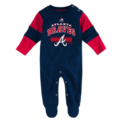 Atlanta Braves MLB Majestic Newborn Navy Blue Team Believer Long Sleeve Coverall