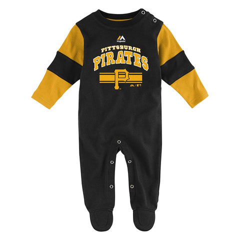 Pittsburgh Pirates MLB Majestic Newborn Black Team Believer Long Sleeve Coverall