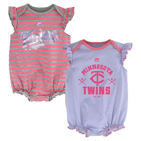 "Minnesota Twins MLB Majestic Newborn ""Team Sparkle"" 2 Pack Frill Creeper Set"