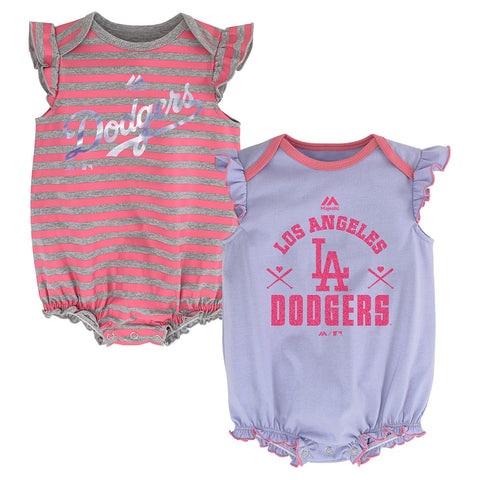 "Los Angeles Dodgers MLB Majestic Newborn ""Team Sparkle"" 2 Pack Frill Creeper Set"