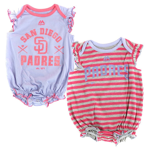 "San Diego Padres MLB Majestic Newborn ""Team Sparkle"" 2 Pack Frill Creeper Set"