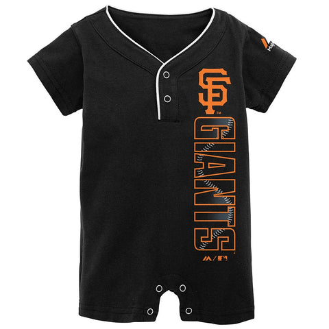 San Francisco Giants MLB Majestic Newborn Black Baseball Two-Button Romper