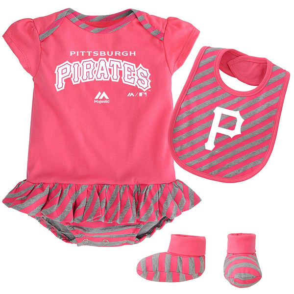 "Pittsburgh Pirates MLB Majestic Newborn Pink ""Pennant"" Creeper, Bib & Bootie Set"