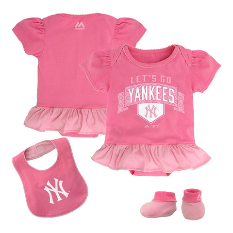 New York Yankees MLB Majestic Newborn Pink Fanatic Frill Creeper Bib Bootie Set
