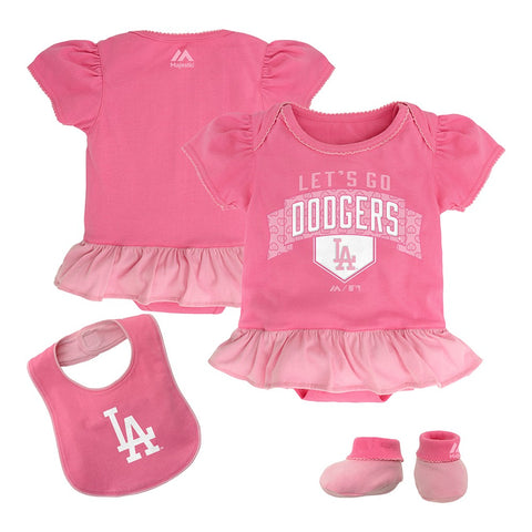 Los Angeles Dodgers MLB Majestic Newborn Fanatic Frill Creeper Bib & Bootie Set