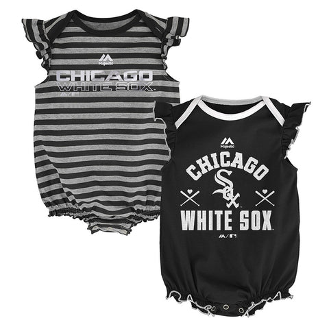 "Chicago White Sox MLB Majestic Newborn ""Team Sparkle"" 2 Pack Frill Creeper Set"