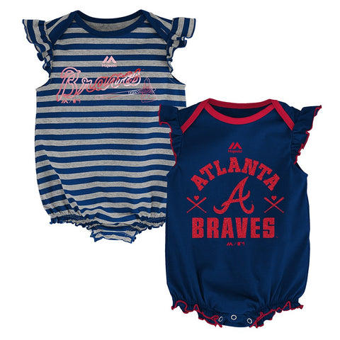 "Atlanta Braves MLB Majestic Newborn ""Team Sparkle"" 2 Pack Frill Creeper Set"