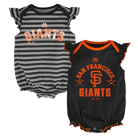 "San Francisco Giants MLB Majestic Newborn ""Team Sparkle"" 2 Pack Creeper Set"