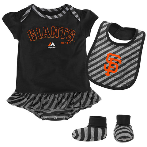 "San Francisco Giants MLB Majestic Newborn ""Pennant"" Creeper, Bib & Bootie Set"