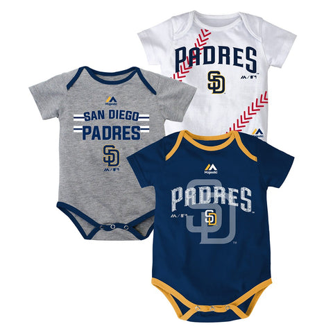 "San Diego Padres MLB Majestic Newborn ""Three Strikes!"" 3 Piece Creeper Set"