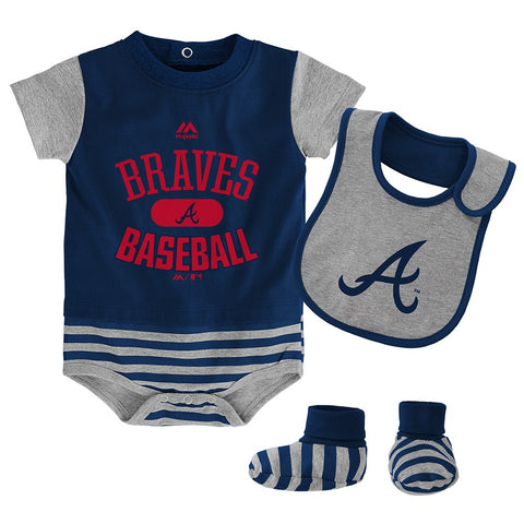 Atlanta Braves Majestic Newborn Navy Baseball Property Creeper Bib & Bootie Set