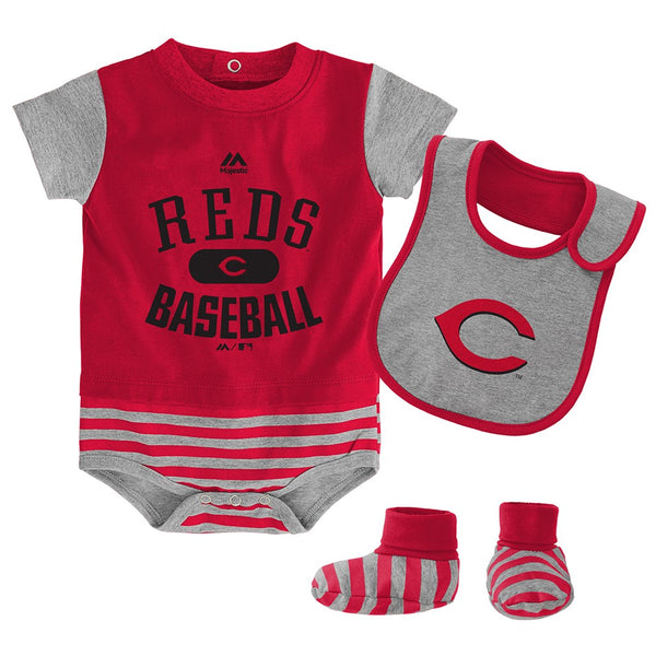 Cincinnati Reds Majestic Newborn Red Baseball Property Creeper Bib & Bootie Set