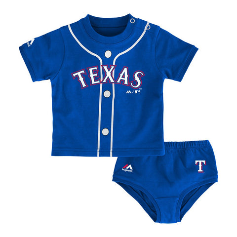 "Texas Rangers MLB Newborn's Blue ""MVP"" Long Sleeve Shirt & Pants Set"
