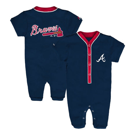 Atlanta Braves MLB Majestic Newborn Navy Blue Outfield Button Down Coverall